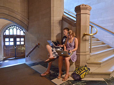 Two students studying in Linsly-Chittenden