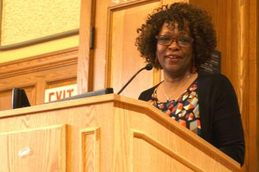 Rita Dove addresses students and faculty at the innagural Annual Foundational Courses Reading